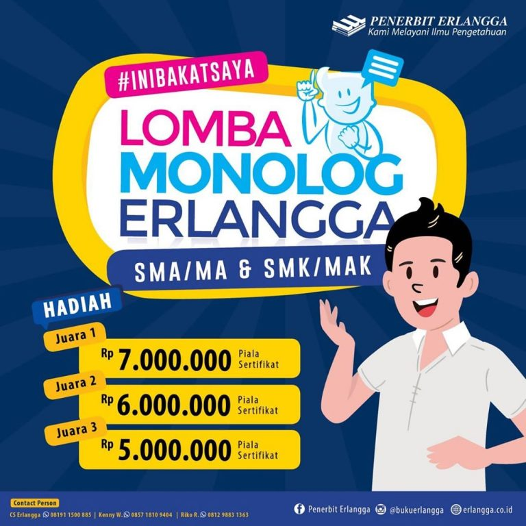 Lomba Monolog Erlangga Jenjang SMA/MA & SMK/MAK